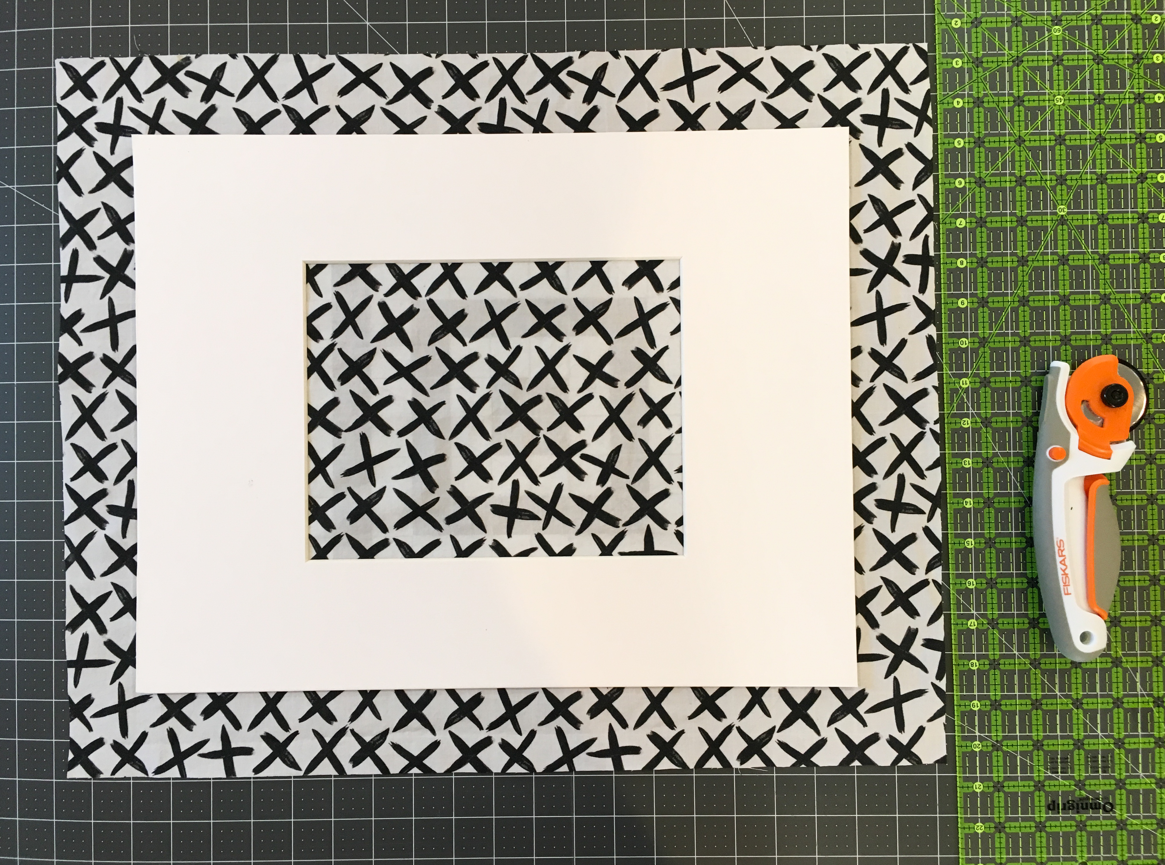 Diy custom fabric mats for framed photos valerie kiser design start out by cutting your fabric allowing at least 15 2 inches on each side to fold over mat then give a pass under your iron to smooth out any jeuxipadfo Choice Image