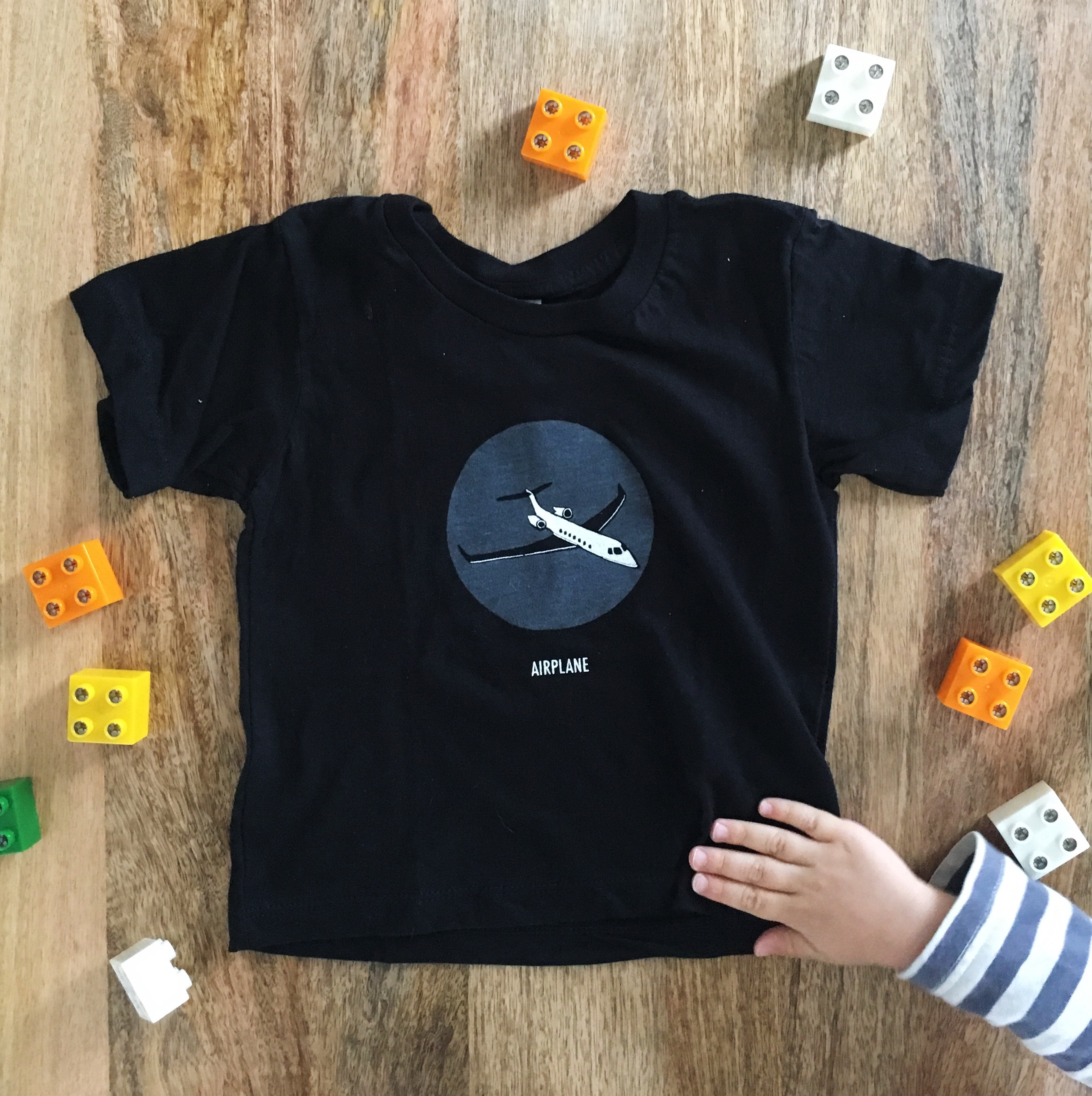 Black Children's Airplane T-Shirt