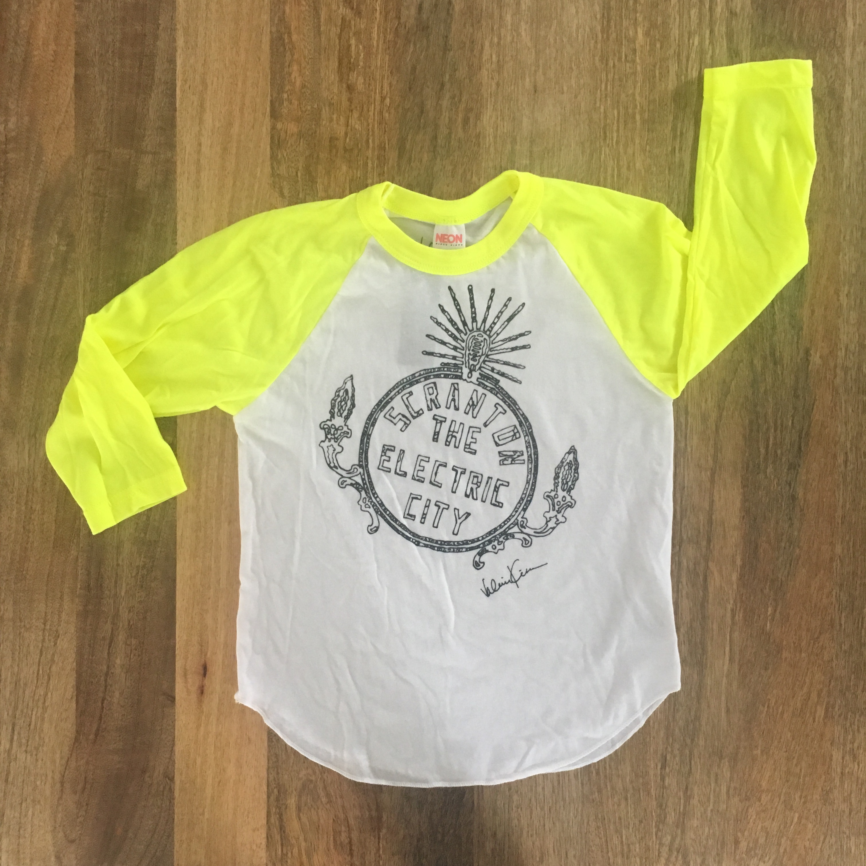 Kid's Electric City Baseball Tee Bright Yellow Sleeves