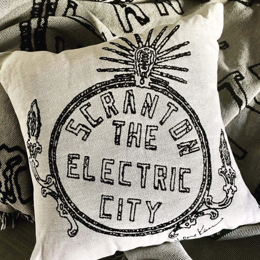 Black and White Electric City Pillow